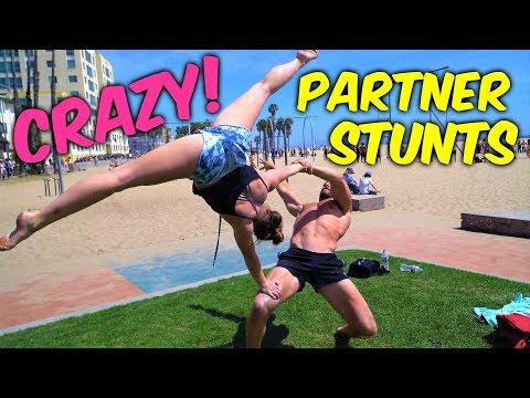 Amazing Partner Gymnastics On The Beach| Rachel Marie