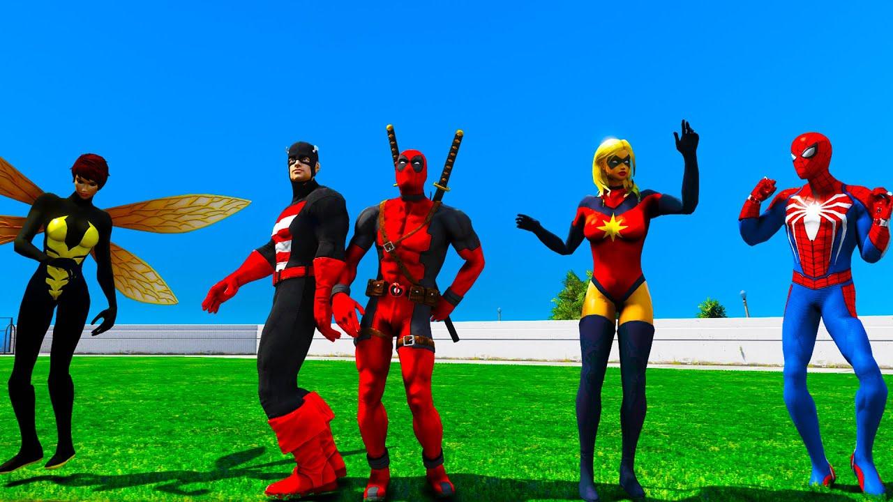 Spiderman PS4 Dance battle GTA V Superheroes mods Deadpool Miss Marvel Hulk Captain America Wasp
