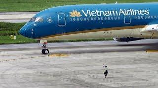 Toàn cảnh máy bay A350 cất cánh ở SB Nội Bài - Vietnam Airlines A350 Takeoff from HAN 11R.0 ta0