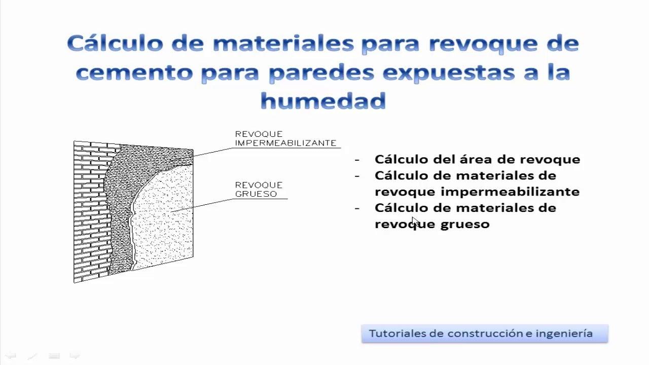 19 calculo de materiales para revoque grueso de cemento for Materiales para hacer un piso