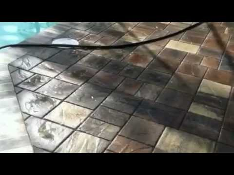 laying a thin paver pool deck - youtube