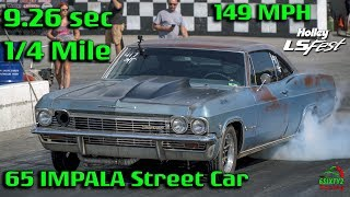 65 Impala Street Car Goes 9.26 Second Quarter Mile at 149mph at LS Fest! (4k video)