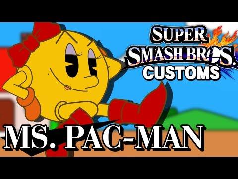 MS. PAC-MAN IN SUPER SMASH BROS! (Smash 4 Wii U Mods Skin Showcase)