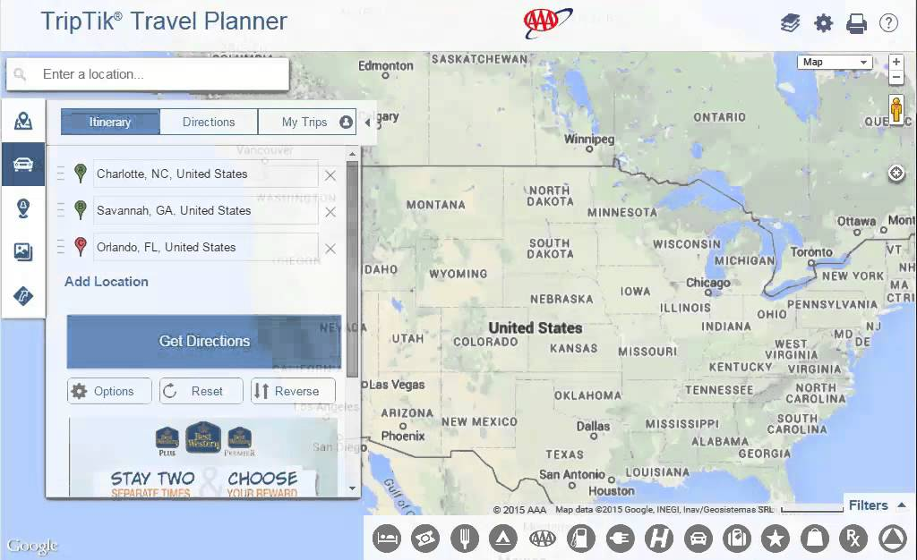 Using AAA TripTik Travel Planner Directions to Multiple – Aaa Travel Maps And Directions