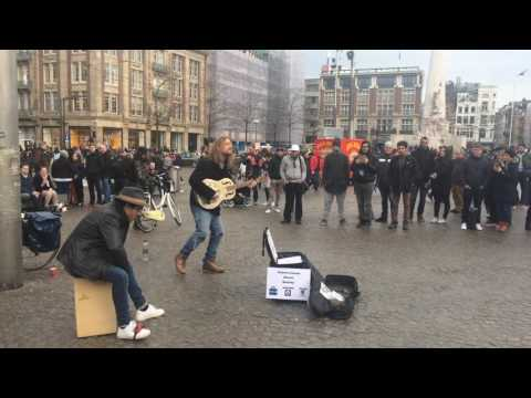 Amazing street performance in front of king's palace, Dam Square,Amsterdam