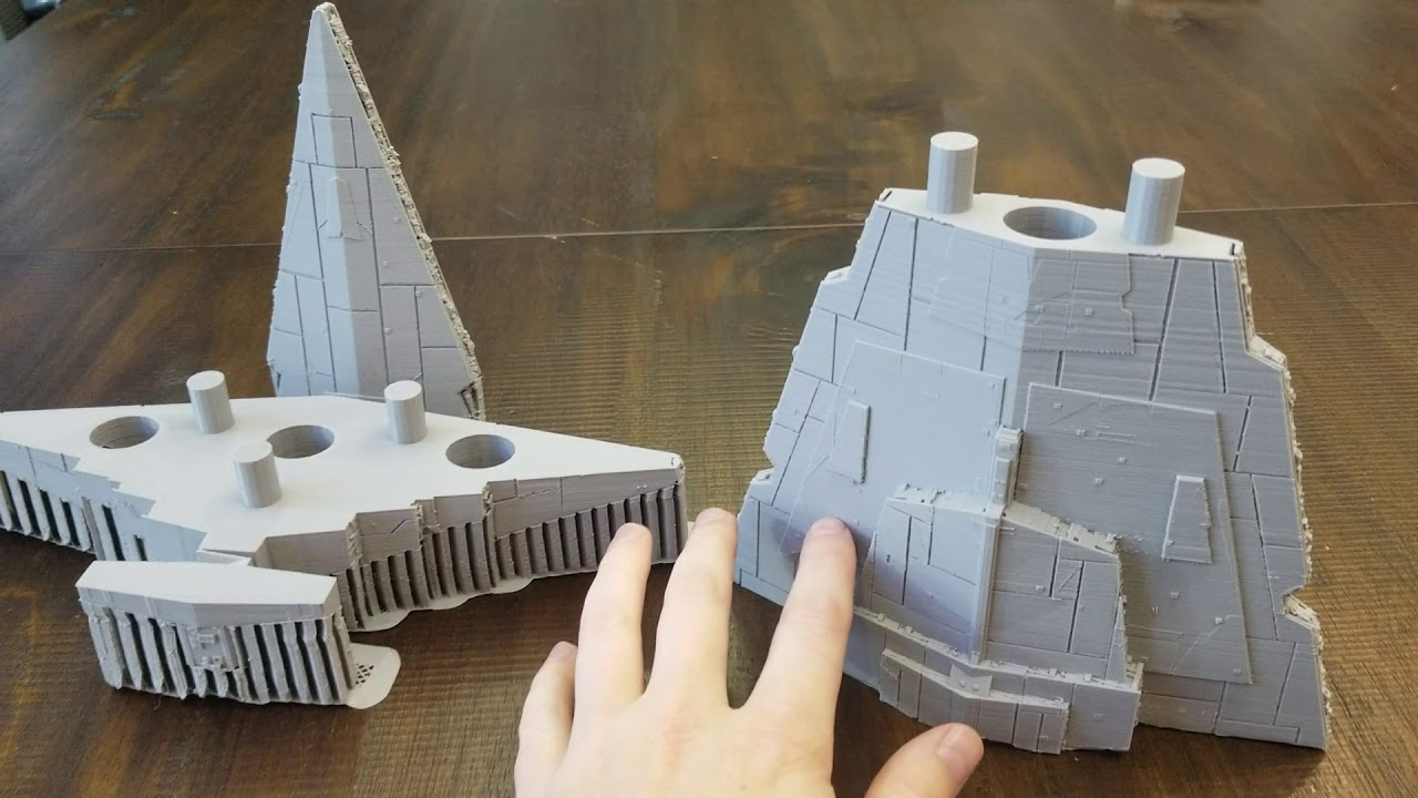 3D PRINTED STAR DESTROYER IS ALMOST COMPLETE! Star Wars Ship parts 1 & 4  are finished printing!
