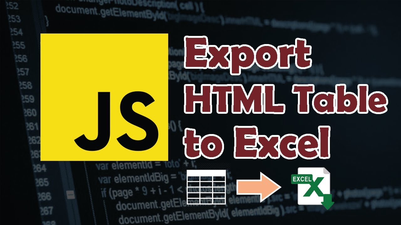 How to Export HTML Table Data into Excel File