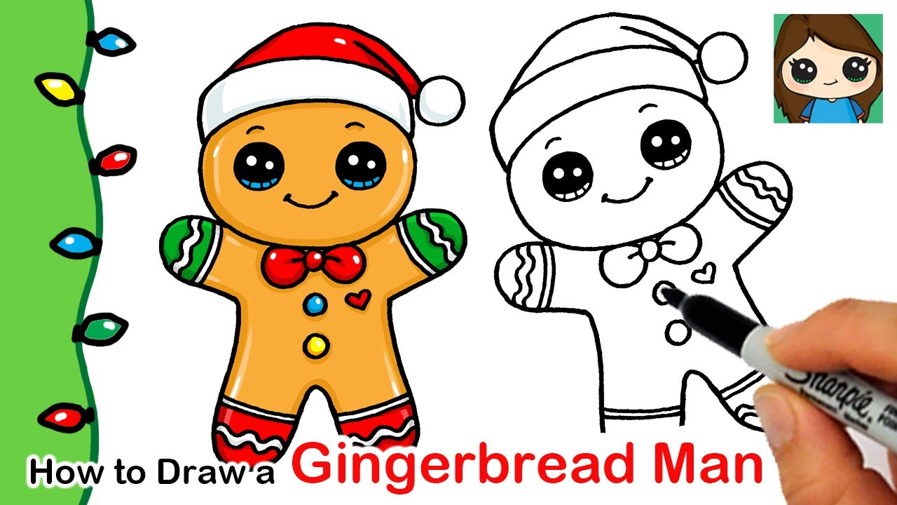 How To Draw A Gingerbread Man Christmas Series 2