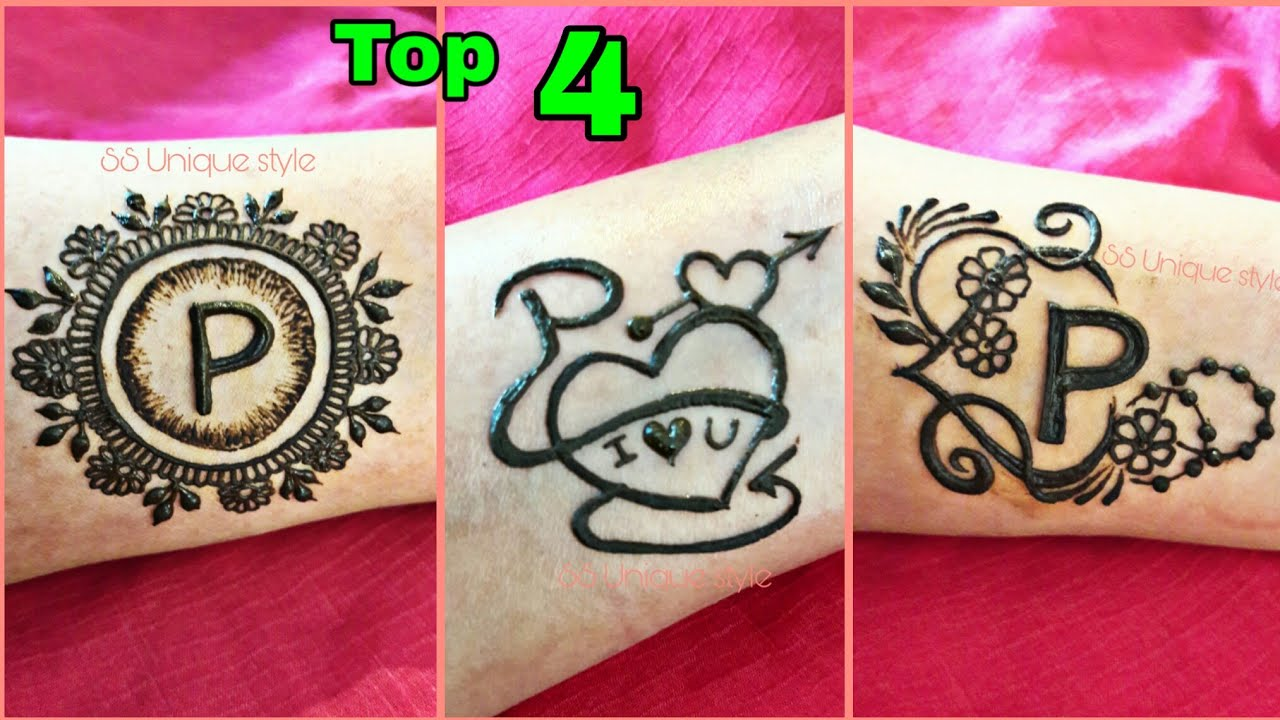 p letter tattoo mehndi design