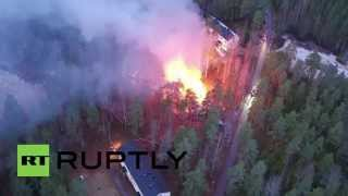 Finland: Drone captures planned refugee centre in flames after suspected arson attack