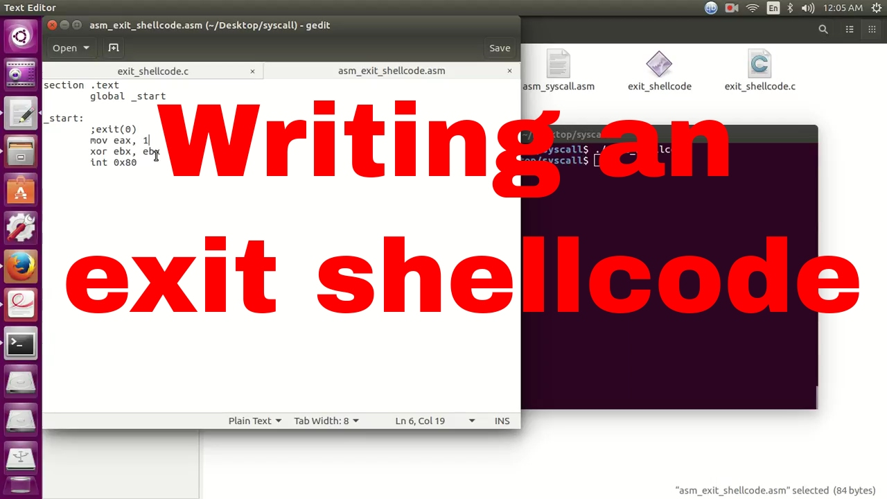 Writing an exit shellcode