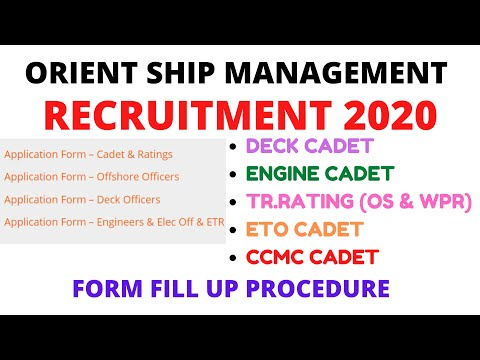 ORIENT SHIP MANAGEMENT RECRUITMENT 2020 {DECK,ENGINE, TR.RATING & CCMC}