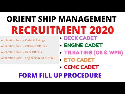 ORIENT SHIP MANAGEMENT RECRUITMENT 2020 {DECK,ENGINE, TR.RATING & CCMC}