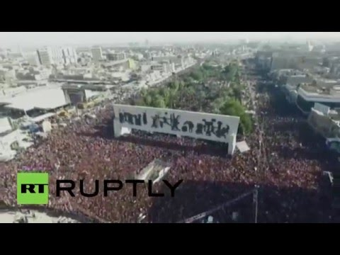 Iraq: Drone captures hundreds of thousands in Bagdad protesting govt. corruption