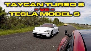 FINALLY SETTLED? * Porsche Taycan Turbo S vs Tesla Model S Performance with Cheetah Launch