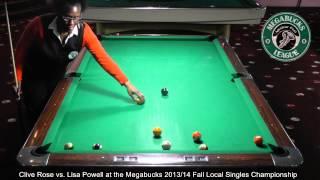 Clive Rose vs. Lisa Powell at the Megabucks 2013/14 Fall Local Singles Championship