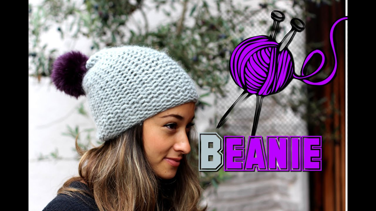 Mütze Stricken Lernen Für Anfänger Beanie Wollmütze Mit Bommel