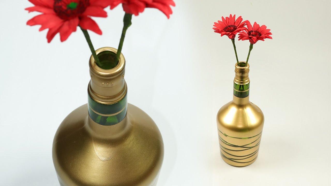 Diy Wine Bottle Craft Turn Waste Wine Bottle Into Beautiful Flower