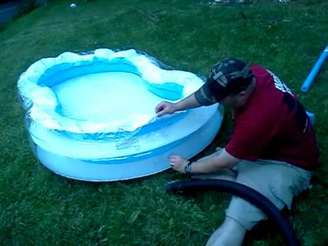 How to blow a kids pool up with a shopvac youtube for Air compressor for pool closing
