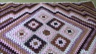 Бабушкин квадрат. Вязаный плед.