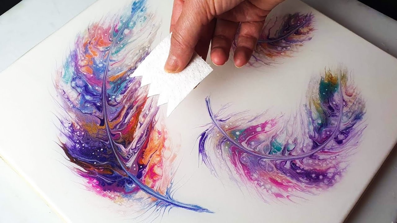 Download Angelic Triple Feather - Acrylic Swipe Painting Tutorial | ABcreative - Fluid Acrylic Pour