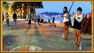 Night walk along the Beach Road, Pattaya, October 2017, Vlog 156