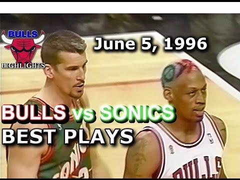 June 05 1996 Bulls vs Sonics game 1 highlights