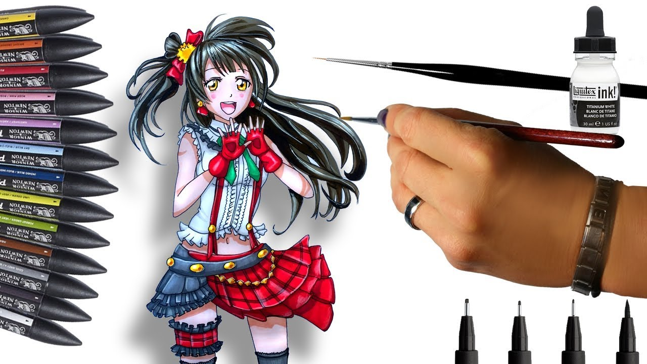 Promarkers comment dessiner une fille manga love live - Dessiner une fille manga ...