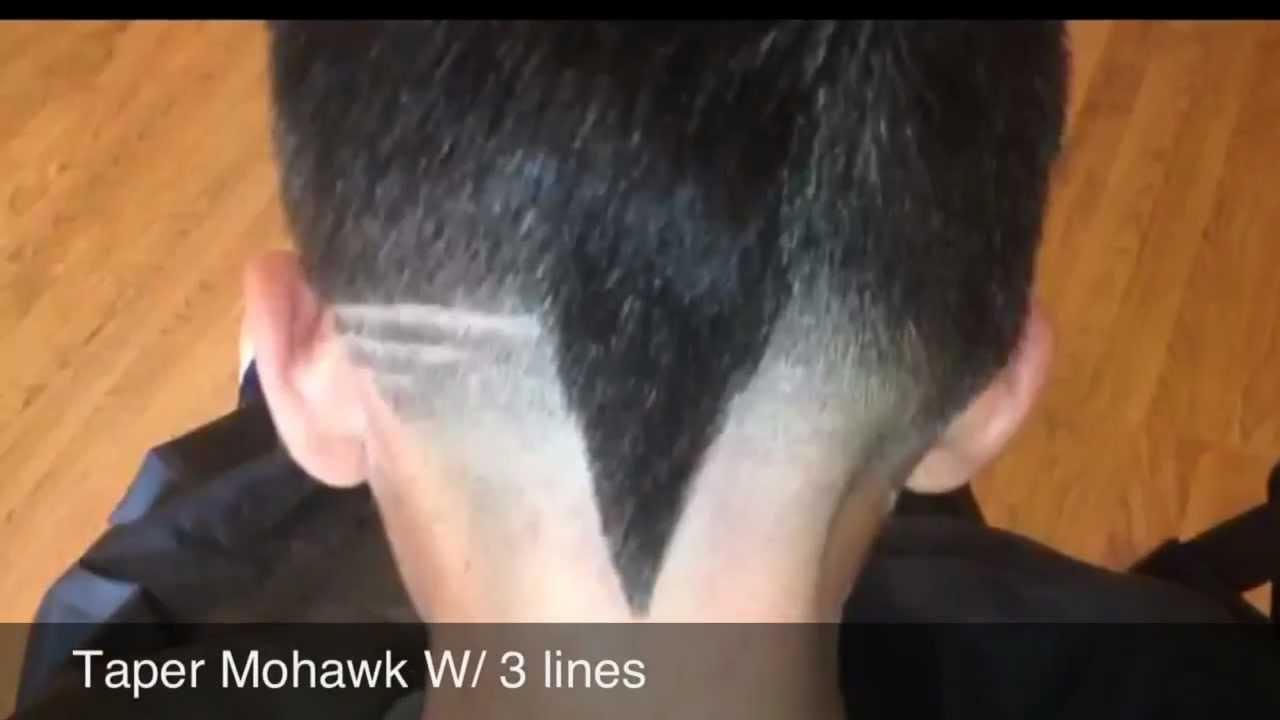 taper v cut mohawk w/3 lines design