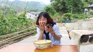 秋妹今天做了蒸蛋蝦,為了一口吃的,騙自己親姐姐,還笑的很開心【顏美食】