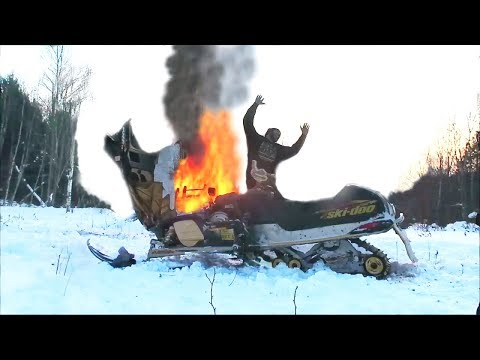 MY SNOWMOBILE CAUGHT ON FIRE !!!!