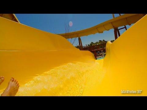 Serpentine Water Slides (HD POV) at Raging Waters Water Park - San Jose