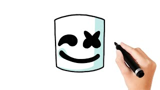 How to Draw Marshmello Face Easy - Fortnite Cool Kids Art