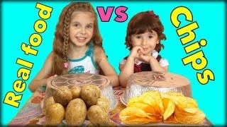 Настоящая еда ПРОТИВ чипсов. Видео для детей. Real food vs Chips. Video for kids.