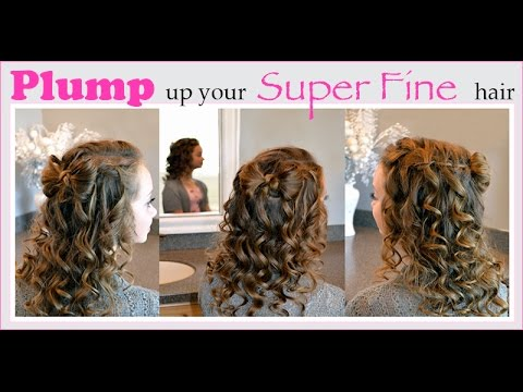 Waterfall Braid With a Bow and Curls Done on Super Fine Hair