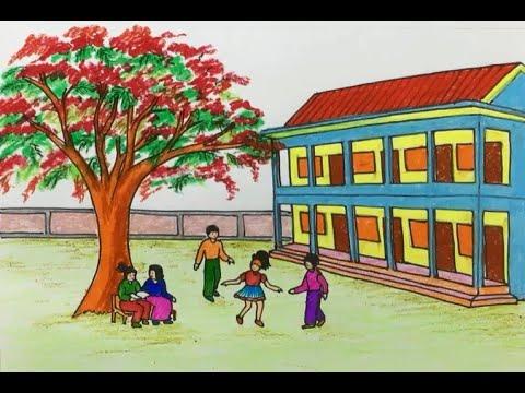 Hoa phượng / Cách vẽ phong cảnh trường học mùa hè / Từng bước cho người mới bắt đầu  #82   Bao quát các thông tin về tranh vẽ phong cảnh mùa hè của học sinh chuẩn nhất