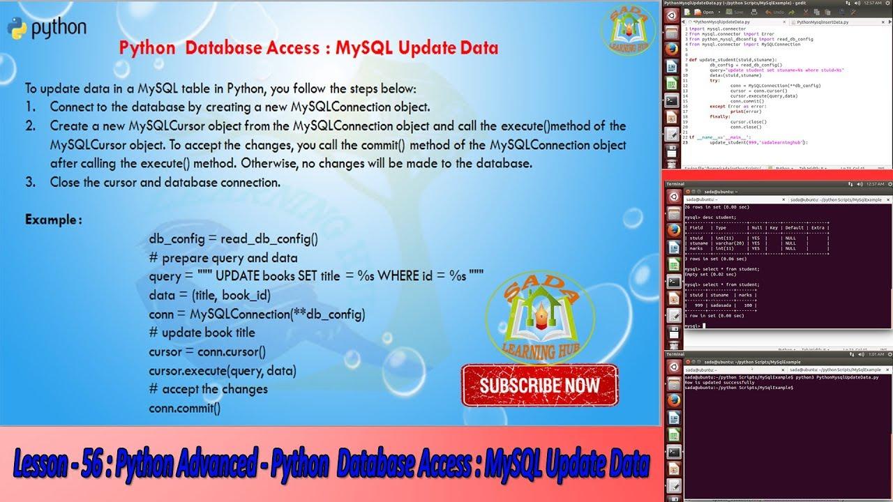Lesson 56 Python Advanced Python Database Access Mysql