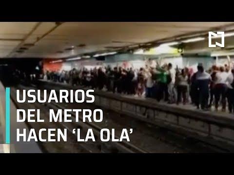 Usuarios del Metro hacen 'la ola' en la estación Garibaldi - A Las Tres