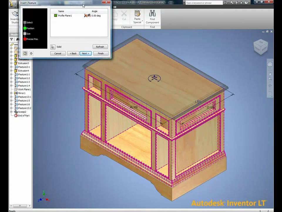 Autodesk Inventor LT - Wood Furniture - WidomTech - YouTube