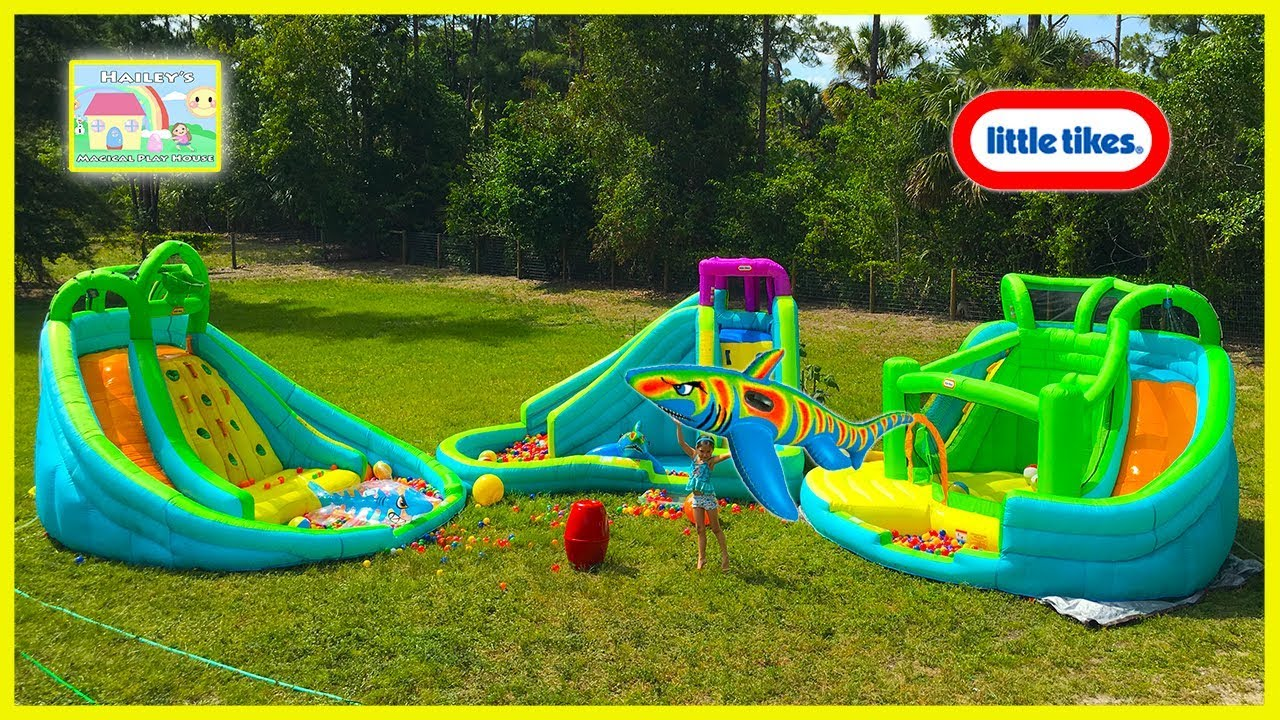 the biggest giant inflatable water slide littletikes waterpark huge egg surprise bubbles family fun youtube - Blow Up Water Slides