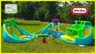 THE BIGGEST GIANT INFLATABLE WATER SLIDE LITTLETIKES WATERPARK Huge Egg Surprise Bubbles Family Fun