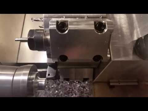 Scratch built CNC lathe cutting aluminum part, dynomotion control