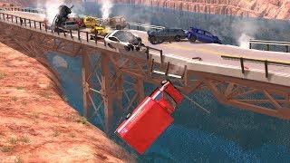 Collapsing Bridge Pileup Crashes #14 - BeamNG Drive Crash Testing