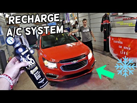 HOW TO RECHARGE AIR CONDITIONER ON CHEVROLET CRUZE. CHEVY CRUZE AC SYSTEM REFILL
