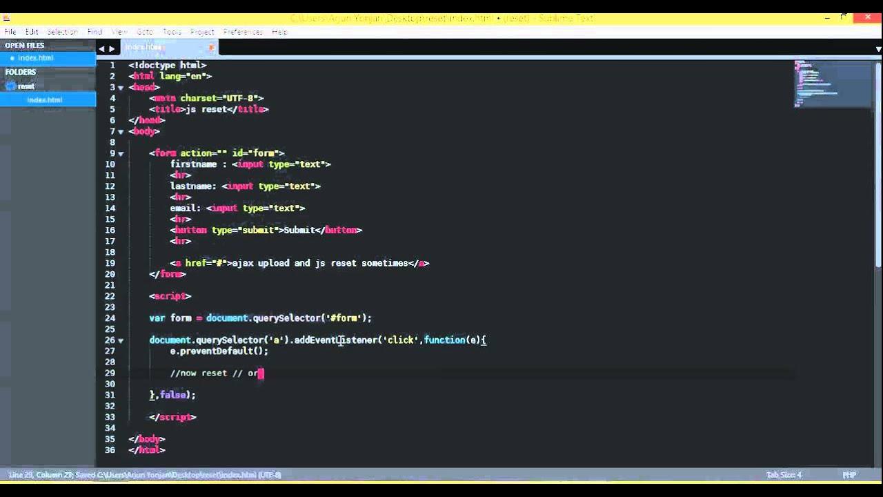 javascript reset the form 720p - YouTube