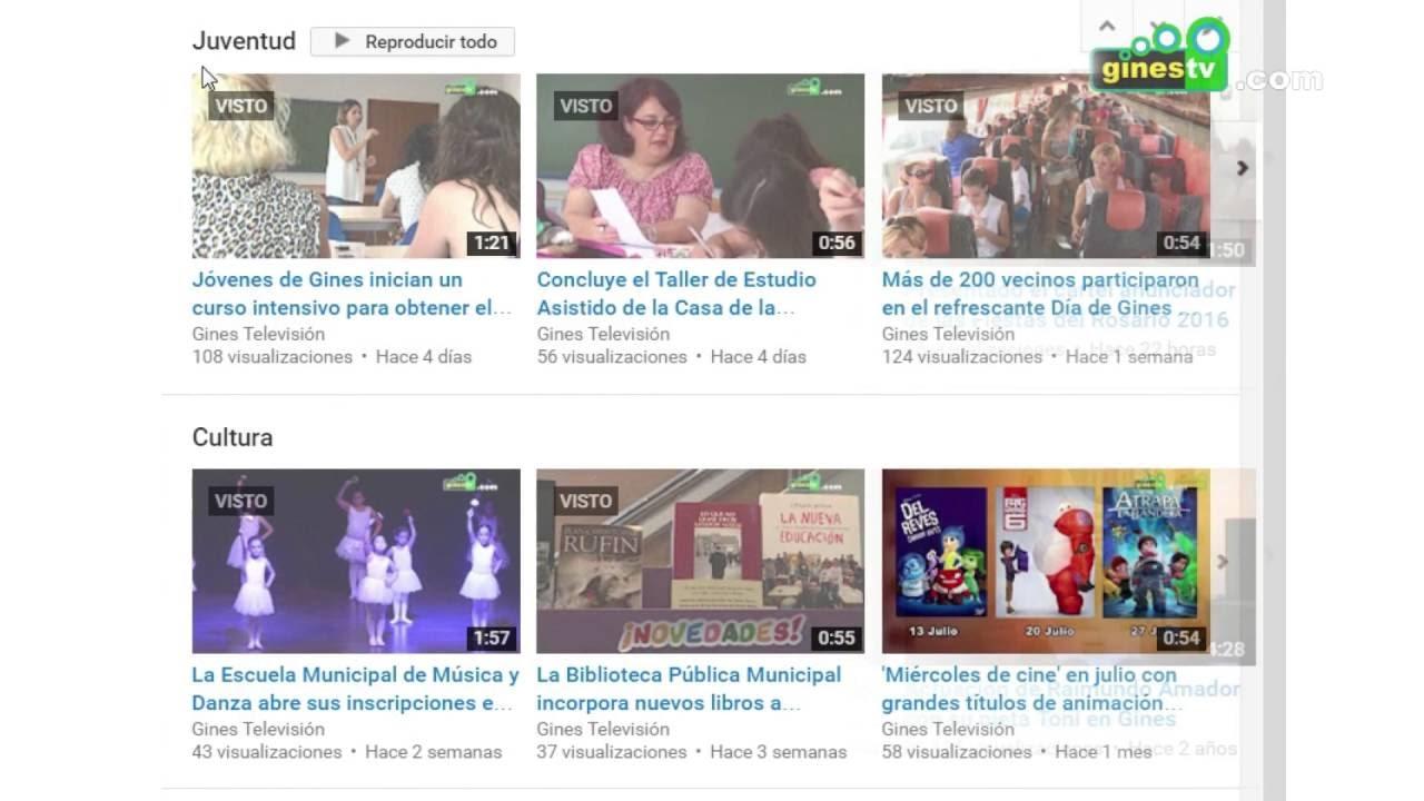 Más de dos millones y medio de visitas al canal de Gines Televisión en Youtube