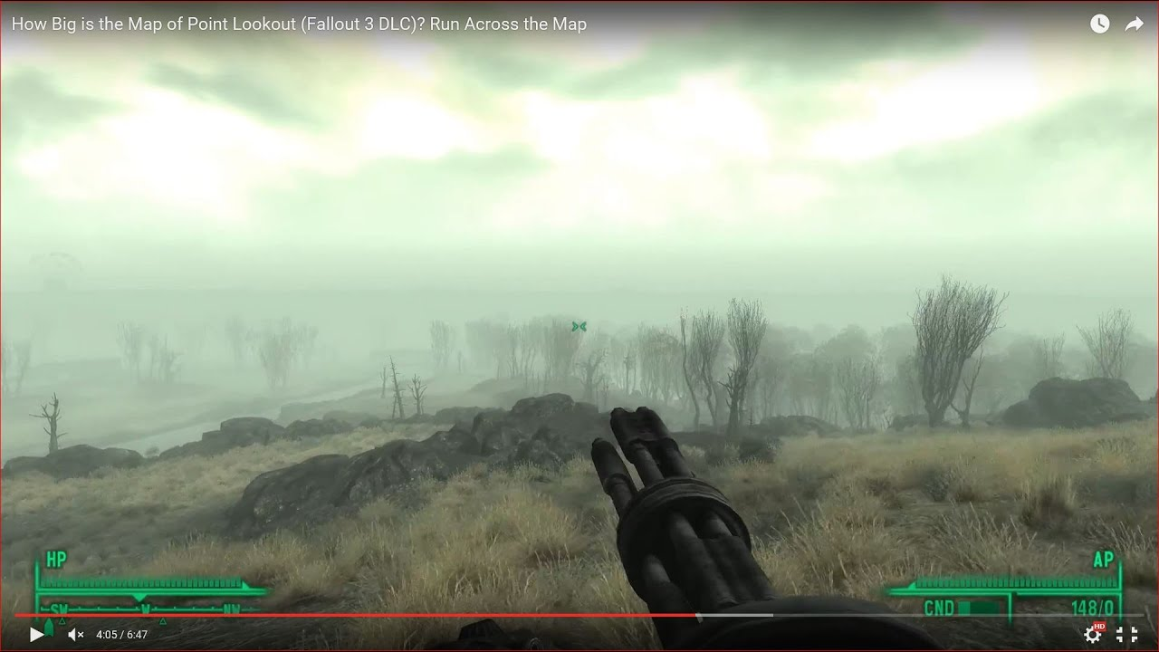 HOW BIG IS THE MAP in Point Lookout (Fallout 3 DLC)? Run Across the Map