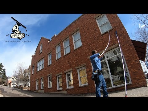 SECOND FLOOR WINDOW CLEANING USING THE LEDGER | POLE WORK