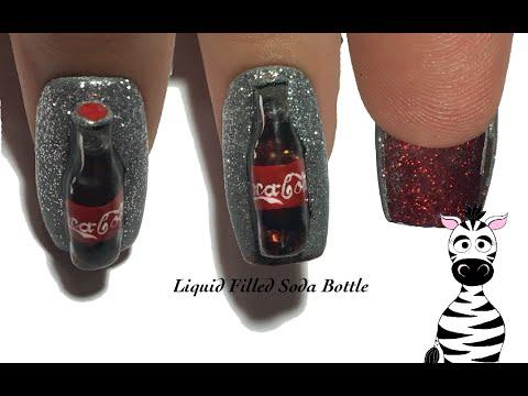 3D Coca-Cola Bottle Acrylic Nail Art Design Tutorial | Liquid Filled