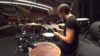 Dusan Kranjc (2Cellos) Drum Sound Check @ Nagoya-Shi Koukaido, Nagoya, JAPAN.